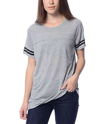 Zine Sherman Heather Grey & Black Stripe T-Shirt