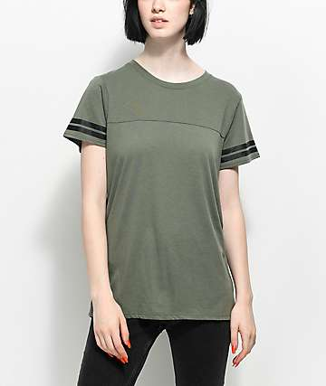 Zine Sherman Olive Athletic Stripe T-Shirt