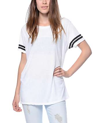 Zine Sherman White & Black Striped T-Shirt
