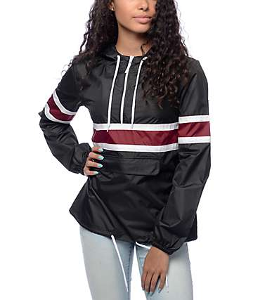 Zine Shiloh Black & Burgundy Packable Windbreaker
