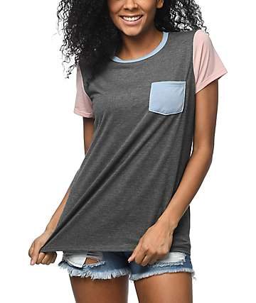 Zine Sima Triple Block Mauve Pocket T-Shirt