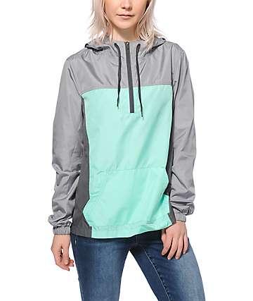 Zine Sinclair Mint & Grey Colorblock Pullover Windbreaker Jacket