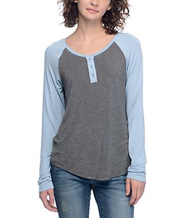 Zine Siri Light Blue & Grey Henley Long Sleeve Baseball T-Shirt