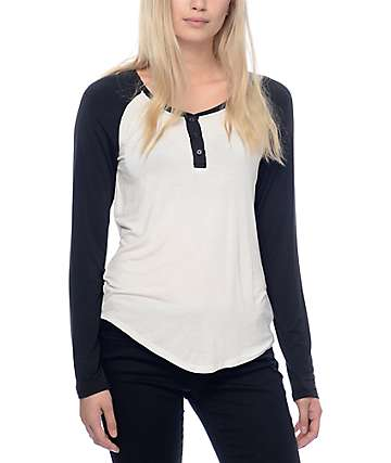 Zine Siri camiseta de manga larga en negro y color crema