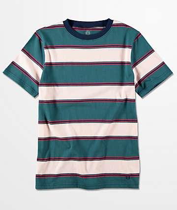 Zine Slouch camiseta a rayas en verde azulado para niños