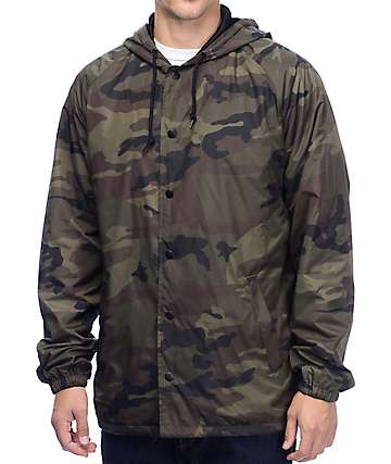 Zine Smith Nylon Hooded Camo Coaches Jacket