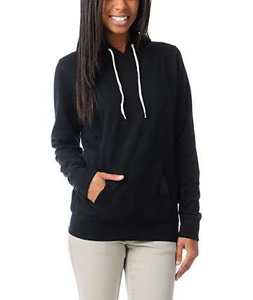 Zine Solid Black Pullover Hoodie