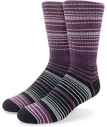 Zine Spacer Black & Purple Crew Socks