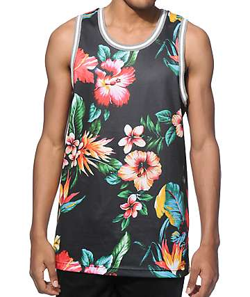 Zine Splice Tropical Black Mesh Tank Top