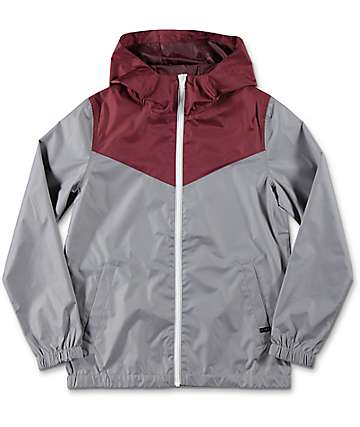 Zine Sprint Youth Maroon & Grey Windbreaker Jacket