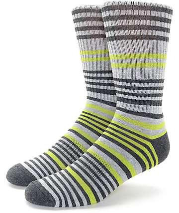 Zine Stand By Green & Grey Crew Socks