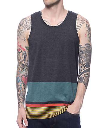 Zine Stay Free Black, Teal, & Yellow Block Tank Top