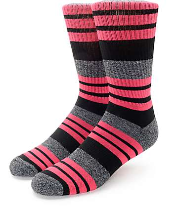 Zine Street Black & Hot Pink Crew Socks