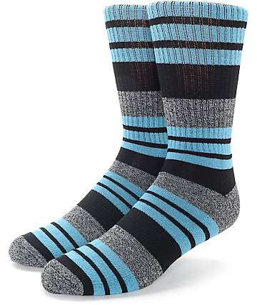 Zine Street Black & Teal Crew Socks