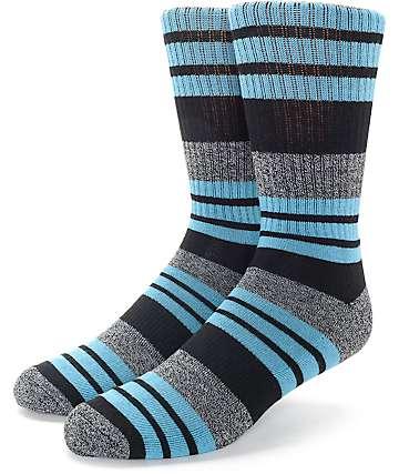 Zine Street Black & Teal Crew Socks
