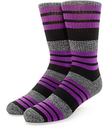Zine Street Grey, Purple & Black Crew Socks