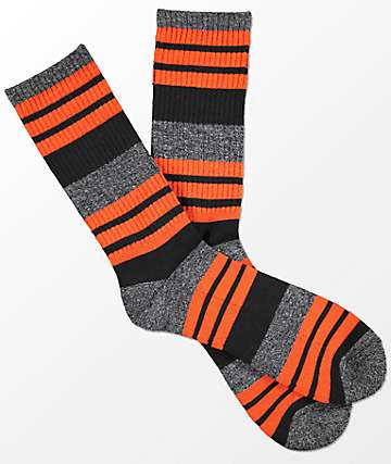 Zine Street Mecca Orange Stripe Crew Socks