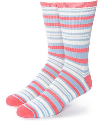 Zine Sunny Day Pink, Pale Blue & White Crew Socks