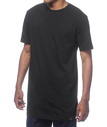Zine Tall Straight Split Black Long T-Shirt