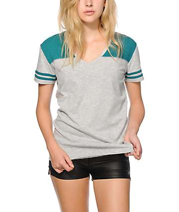 Zine Tanner White & Teal Football Tee