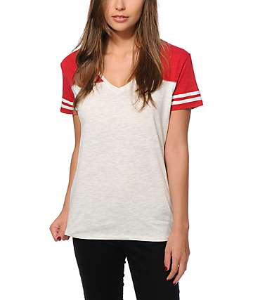 Zine Tanner White & red Football Tee
