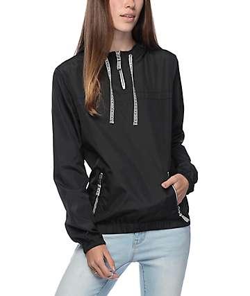 Zine Tasha Jacquard Drawstring Black Pullover Windbreaker Jacket