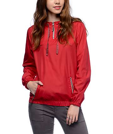 Zine Tasha Jacquard Drawstring Red Pullover Windbreaker Jacket