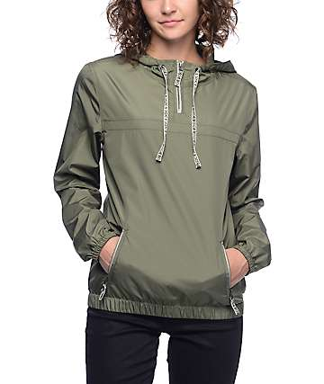 Zine Tasha Tribal Tape Olive Pull Over Windbreaker Jacket