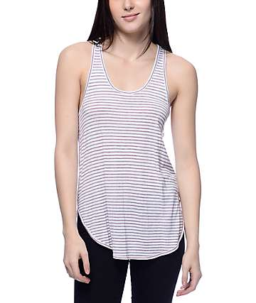 Zine Tau Burgundy & Navy Double Mini Stripe Tank Top