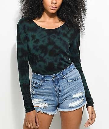Zine Tavelina camiseta verde con efecto tie dye