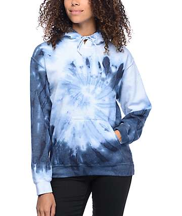 Zine Tera Blue & White Spiral Tie Dye Hoodie