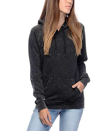 Zine Tera Hunter Black Acid Wash Hoodie