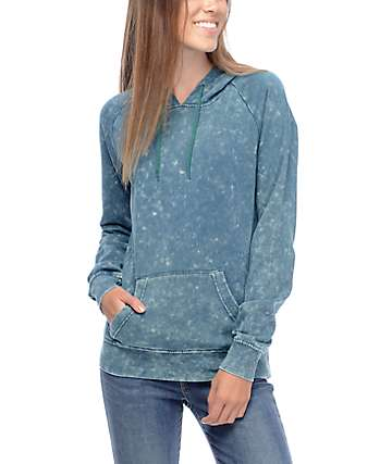 Zine Tera Hunter Green Acid Wash Hoodie