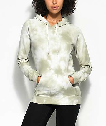 Zine Tera Light Green & White Tie Dye Hoodie