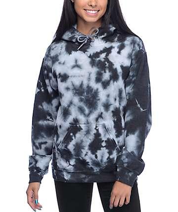 Zine Tera sudadera con capucha con efecto tie dye negro