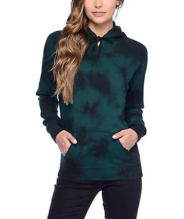 Zine Tera sudadera con capucha con efecto tie dye verde y negro