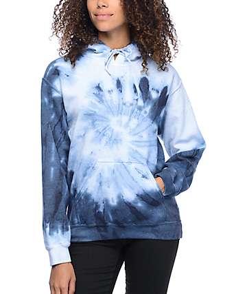 Zine Tera sudadera con capucha en teñido anudado espiral azul y blanco