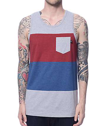 Zine The Middle Grey, Burgundy, & Navy Pocket Tank Top