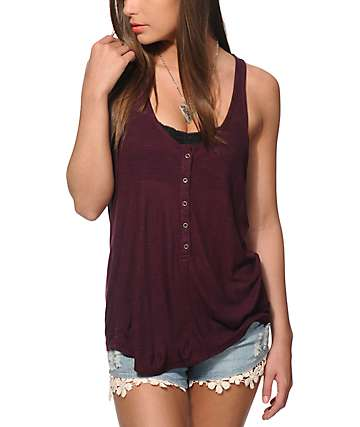 Zine Theta Blackberry Henley Tank Top
