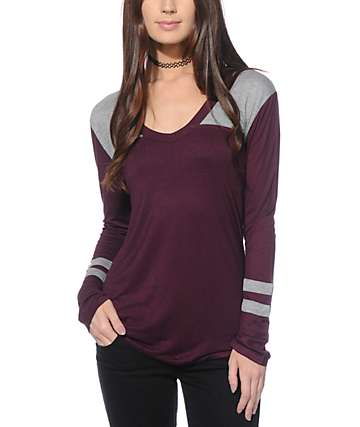 Zine Tila Blackberry & Grey Long Sleeve V-Neck T-Shirt