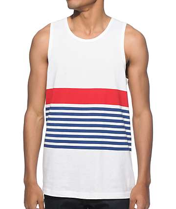 Zine Time Trial White, Blue, and Red Stripe Tank Top
