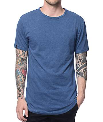 Zine Top Shelf Heather Blue Curved Hem Long T-Shirt