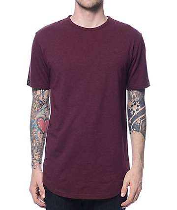 Zine Top Shelf Heather Burgundy Curved Hem Long T-Shirt