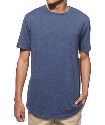 Zine Top Shelf Heather Navy Curved Hem Long T-Shirt