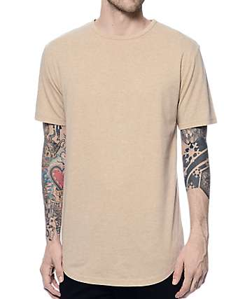 Zine Top Shelf Heather Tan Curved Hem Long T-Shirt