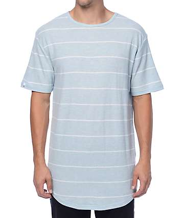 Zine Top Shelf Light Blue & White Stripe Long T-Shirt
