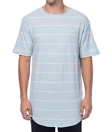 Zine Top Shelf Light Blue & White Stripe Long T-Shirt