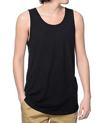 Zine Tower Black Long Tank Top