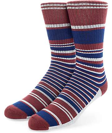 Zine Traveler Red & Navy Crew Socks