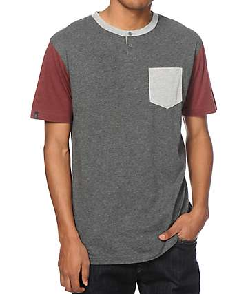 Zine Triad 3 Tone Henley Pocket T-Shirt